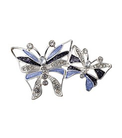 Napier® Boxed Silvertone and Blue Double Butterfly Pin