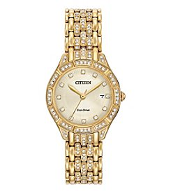 Citizen® Women's Eco-Drive Goldtone Silhouette Crystal Watch