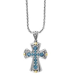 Effy® Blue Topaz Cross Pendant In Sterling Silver