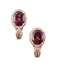 Effy® .26 Ct. T.W. Diamond And Rhodolite Earrings In 14k Rose Gold