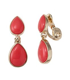 Napier® Goldtone And Coral Teardrop Clip Earrings