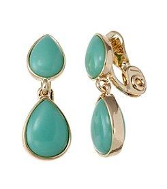 Napier® Goldtone And Seafoam Teardrop Clip Earrings