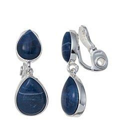 Napier® Silvertone And Denim Teardrop Clip Earrings
