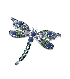 Napier® Boxed Silvertone, Blue And Purple Dragonfly Pin