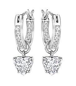 Swarovski® Silvertone Attract Heart Hoop Pierced Earrings