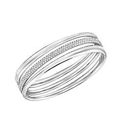 Swarovski® Silvertone Exact Bangle Bracelet