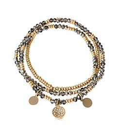 Kenneth Cole® Goldtone Mixed Black Diamond Faceted Bead Stretch Bracelet Set