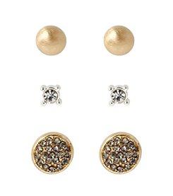 Kenneth Cole® Goldtone Pave Circle & Crystal Stud Earrings Set
