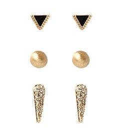Kenneth Cole® Goldtone Pave Spike & Triangle Stud Earrings Set