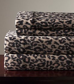 Elite Home Products Leopard Winter Nights Micro Fleece Sheet Set