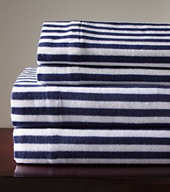Elite Home Products Navy Stripe Winter Nights Micro Fleece Sheet Set