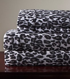 Elite Home Products Snow Leopard Winter Nights Micro Fleece Sheet Set