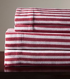 Elite Home Products Wine Stripe Winter Nights Micro Fleece Sheet Set