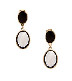 Erica Lyons® Goldtone You Bow Me Over Oval Drop Clip Earrings