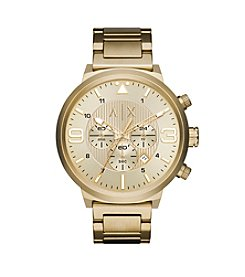 A|X Armani Exchange Men's  Brushed Goldtone Stainless Steel H Link Bracelet Watch