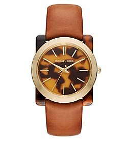 Michael Kors® Womens Kempton Tan Leather and Tortoise Acetate 3 Hand Goldtone Watch