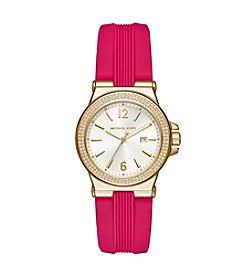 Michael Kors® Womens Mini Dylan Pink Silicone and Goldtone 3 Hand Watch