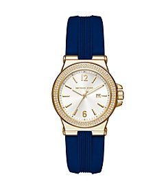 Michael Kors® Womens Mini Dylan Navy Silicone and Goldtone 3 Hand Watch
