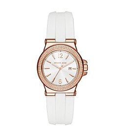 Michael Kors® Womens Mini Dylan White Silicone and Rose Goldtone 3 Hand Watch