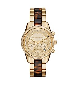 Michael Kors Womens Ritz Goldtone And Tortoise Acetate Chrono Watch