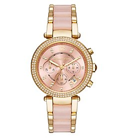 Michael Kors® Womens Parker Blush Acetate and Goldtone Chronograph Watch