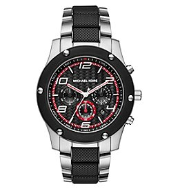 Michael Kors® Men's Caine Silvertone Stainless Steel and Silicone Chronograph Watch