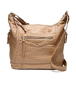 GAL Washed Ostrich Embossed Crossbody Hobo