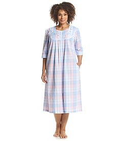 Miss Elaine® Plus Size Printed Zip Up Robe