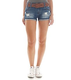 Wallflower® Belted Destructed Jean Shorts