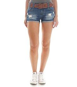 Wallflower® Belted Destructed Jean Shorts
