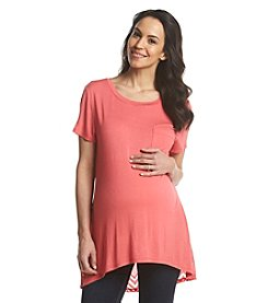 Three Seasons Maternity™ Solid Front Crochet Back Tee