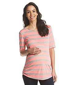 Three Seasons Maternity™ Short Sleeve Stripe Knit Top