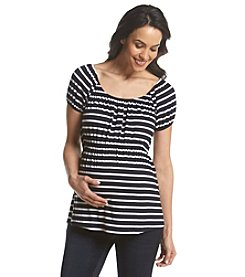 Three Seasons Maternity™ Short Sleeve Stripe Babydoll Top