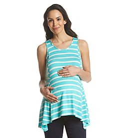 Three Seasons Maternity™ Stripe Tank Sharkbite Hem