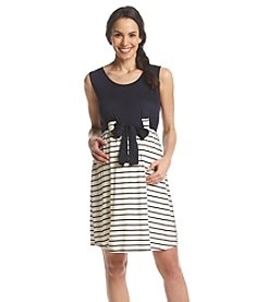 Three Seasons Maternity™ Solid & Stripe Belted Tank Dress