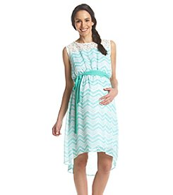 Three Seasons Maternity™ Sleeveless Lace Yoke Print Dress