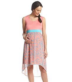 Three Seasons Maternity™ Solid Tank Paisley Print Skirt Dress