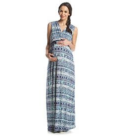 Three Seasons Maternity® Sleeveless Surplice Print Maxi Dress