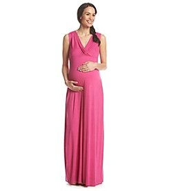 Three Seasons Maternity™ Sleeveless Surplice Solid Knit Maxi Dress