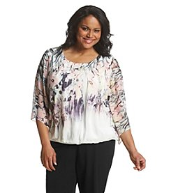 AGB® Plus Size Floral Print Woven Top