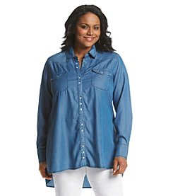 Earl Jean® Plus Size Tencel Woven Chambray Shirt