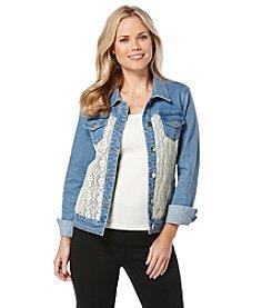 Rafaella® Crochet Denim Jacket