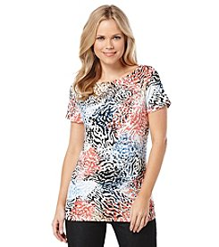 Rafaella® Short Sleeve Abstract Print Tee