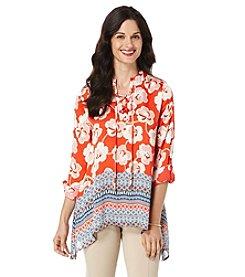 Rafaella® Floral Print Crinkle Tunic