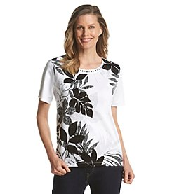 Alfred Dunner® Port Antonio Leaf Texture Asymmetrical Top