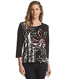 Alfred Dunner® Port Antonio Graphic Floral Knit Top