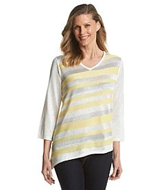 Alfred Dunner® Santa Clara Diagonal Stripe Sequin Sweater