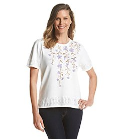 Alfred Dunner® Lavender Fields Yoke Floral Sweater