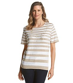 Alfred Dunner® Lavender Fields Stripe Necklace Sweater