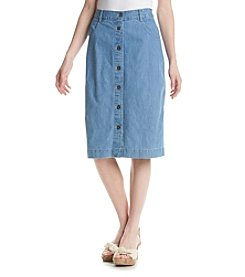 Studio West Light Denim Button Front Skirt